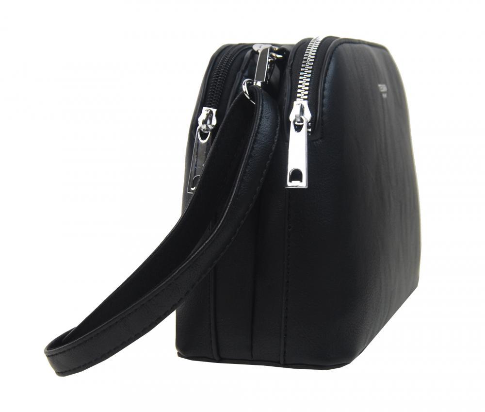Černá menší crossbody dámská kabelka se dvěma sekcemi 4845-TS