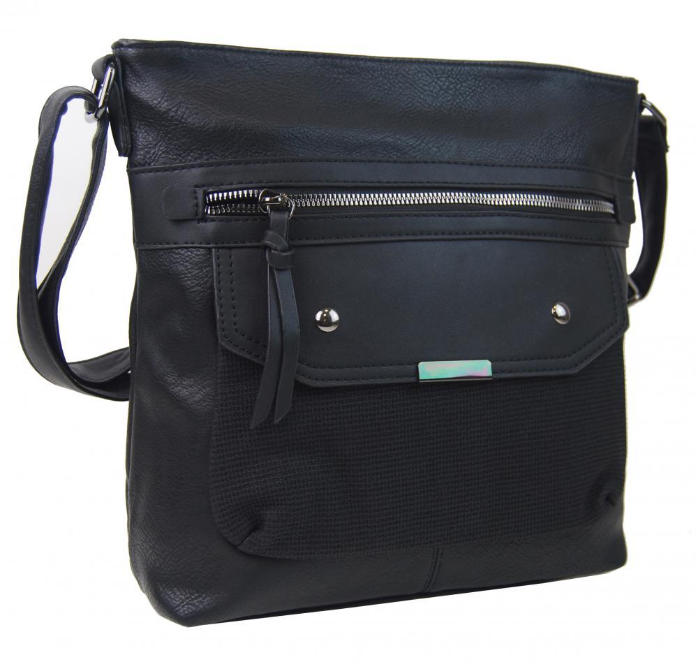 Crossbody černá dámská kabelka střední velikosti XH5010