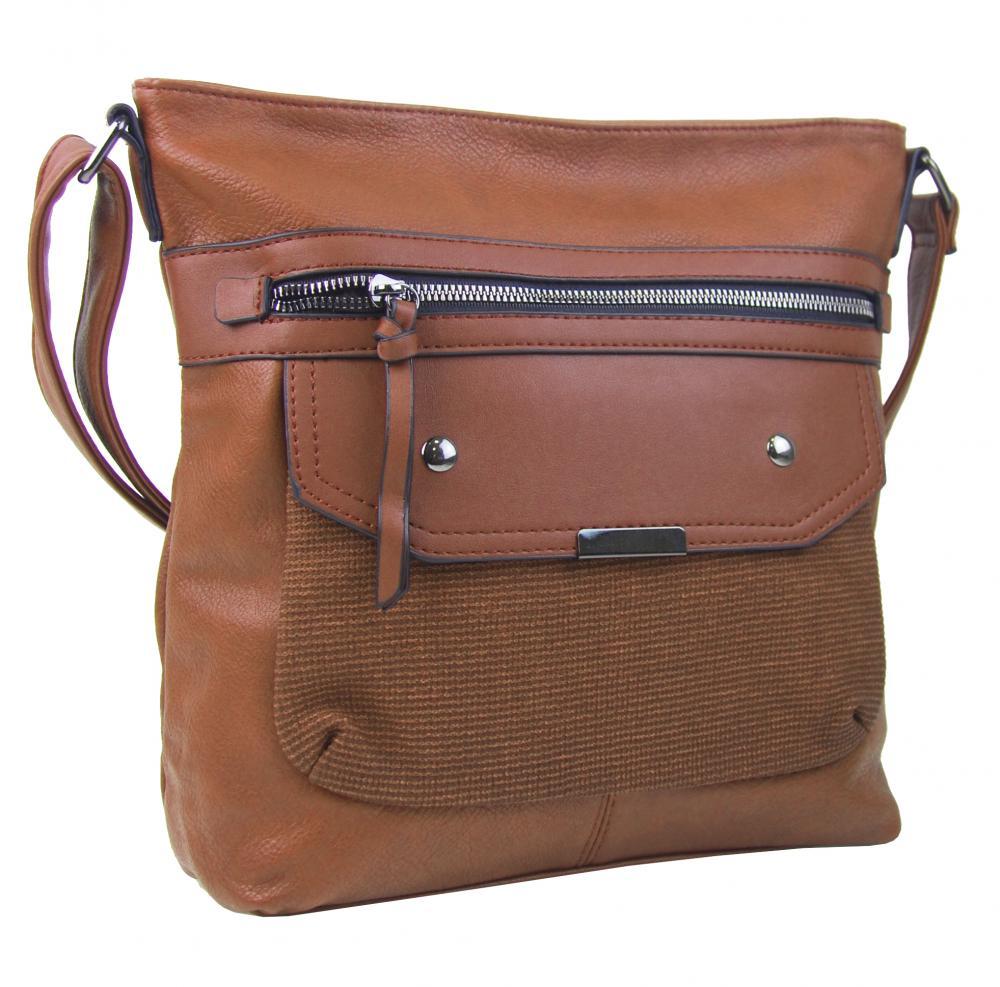 Crossbody hnědá dámská kabelka střední velikosti XH5010