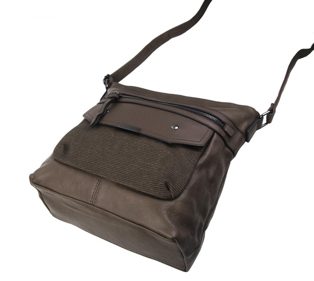 Crossbody šedo-hnedá dámska kabelka strednej veľkosti XH5010