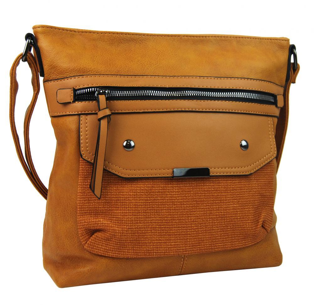Crossbody okrově žlutá dámská kabelka střední velikosti XH5010