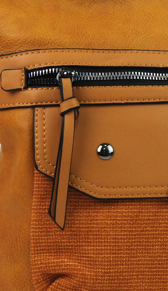 Crossbody okrovo žltá dámska kabelka strednej veľkosti XH5010