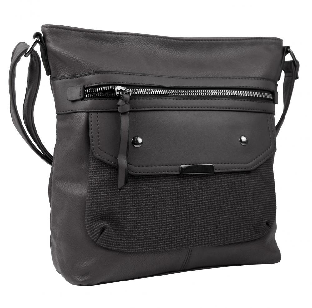 Crossbody tmavě šedá dámská kabelka střední velikosti XH5010