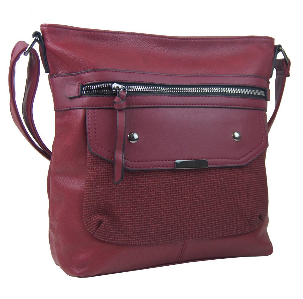 Crossbody vínová dámská kabelka střední velikosti XH5010