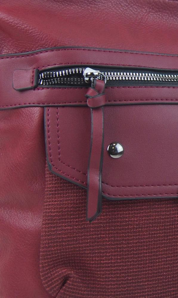 Crossbody vínová dámska kabelka strednej veľkosti XH5010