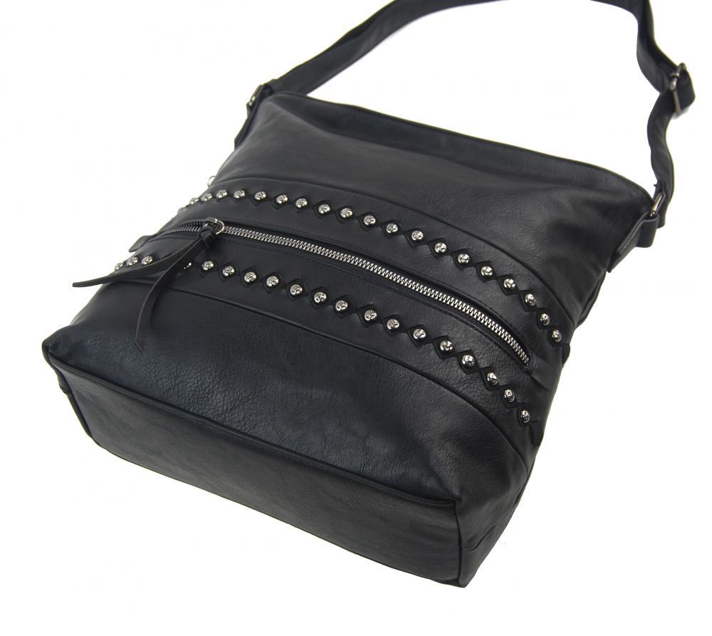 Černá středně velká crossbody dámská kabelka XH5046