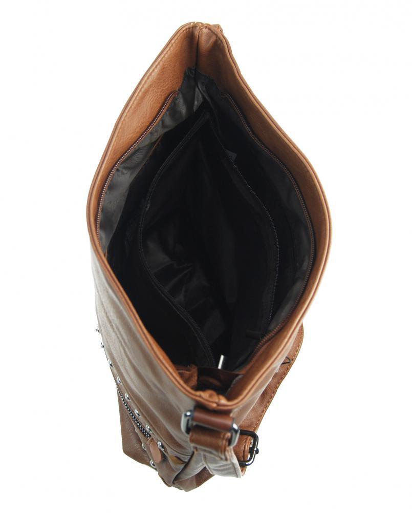 Hnedá stredne veľká crossbody dámska kabelka XH5046