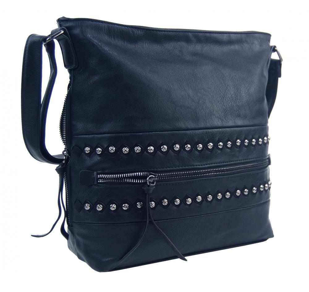 Tmavo modrá stredne veľká crossbody dámska kabelka XH5046