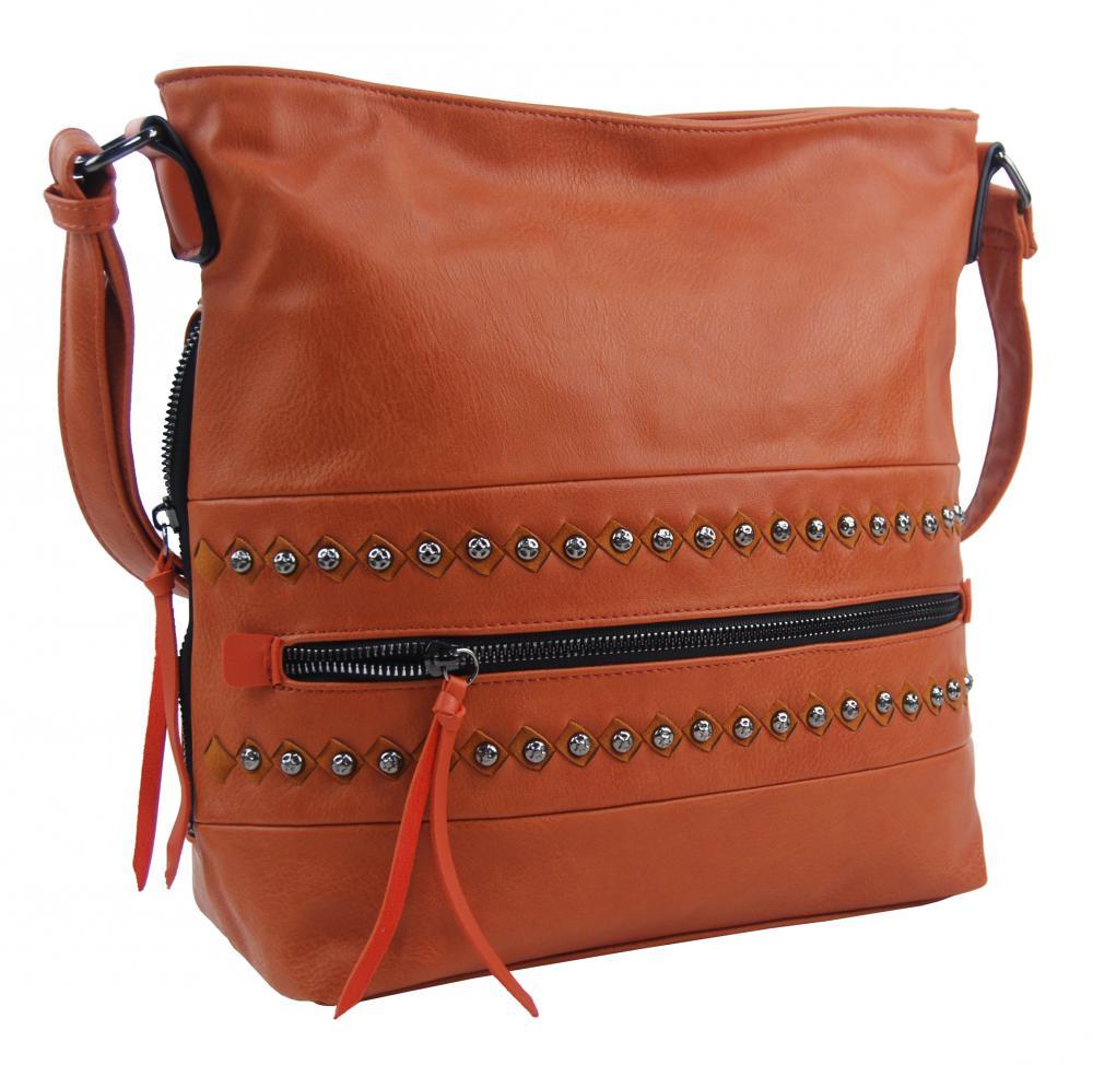 Tehlovo oranžová stredne veľká crossbody dámska kabelka XH5046