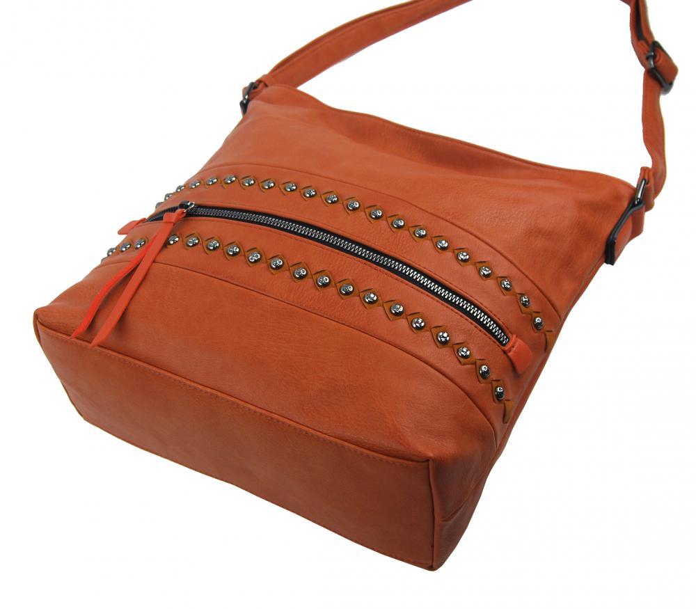 Cihlově oranžová středně velká crossbody dámská kabelka XH5046