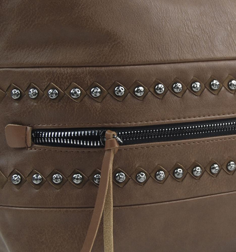 Prírodne hnedá stredne veľká crossbody dámska kabelka XH5046