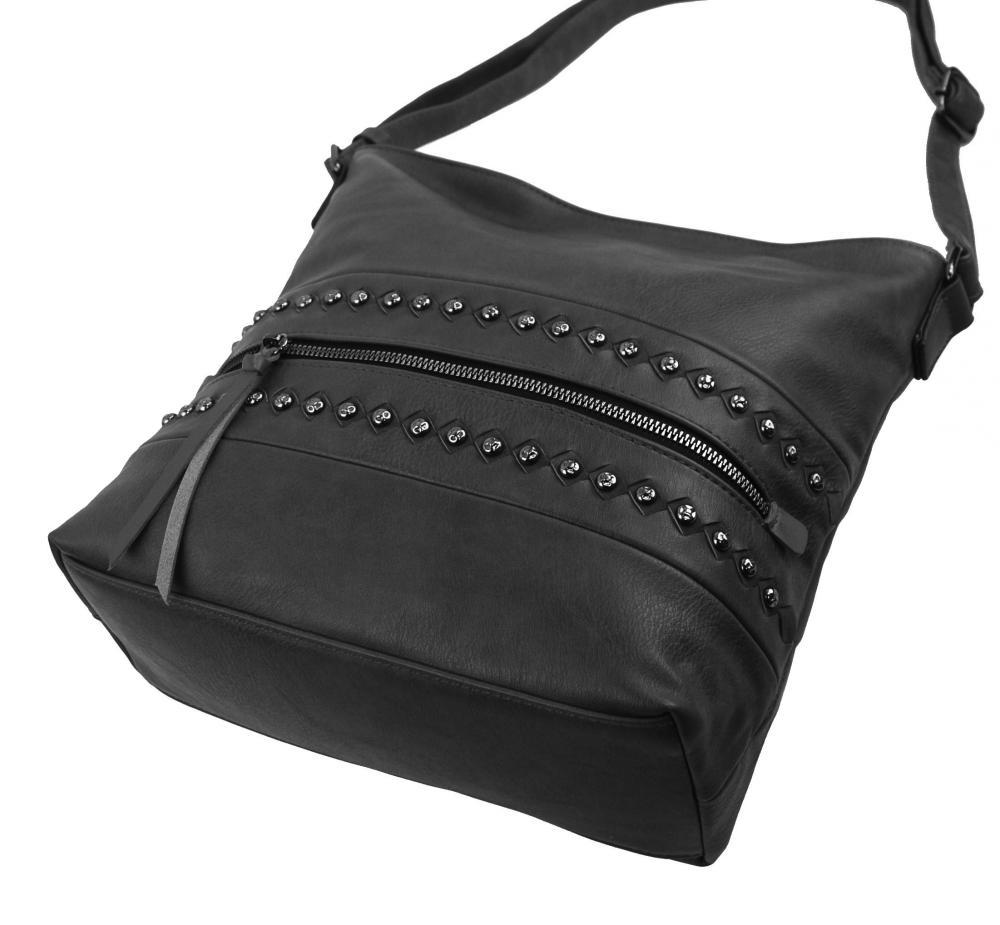 Tmavě šedá středně velká crossbody dámská kabelka XH5046