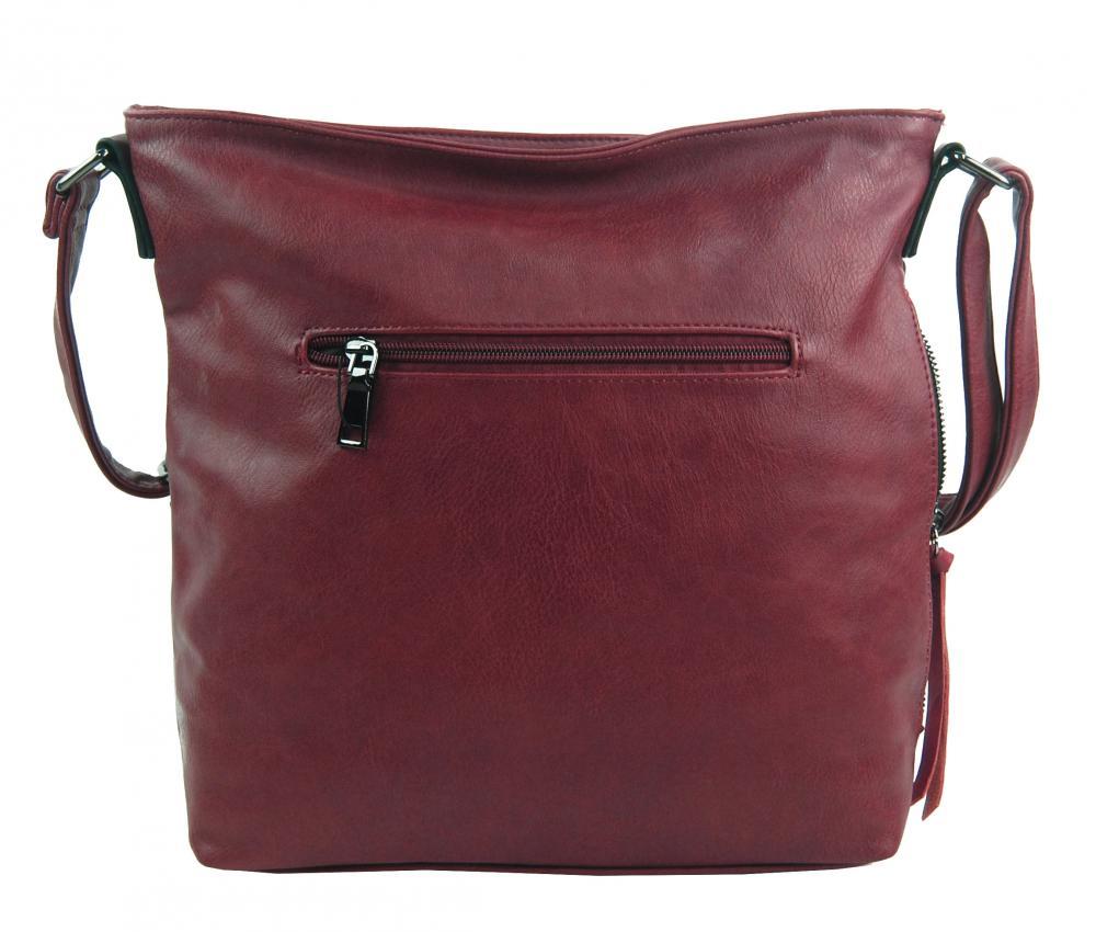 Tmavo červená stredne veľká crossbody dámska kabelka XH5046