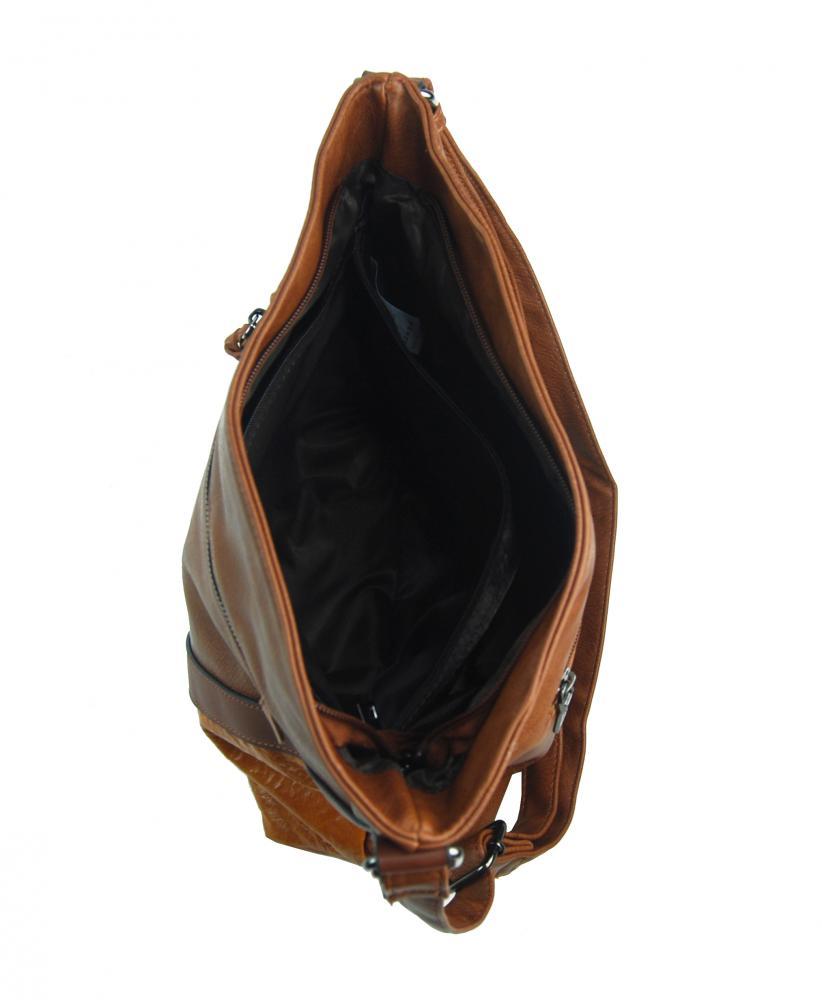 Hnědá středně velká crossbody dámská kabelka XH5047
