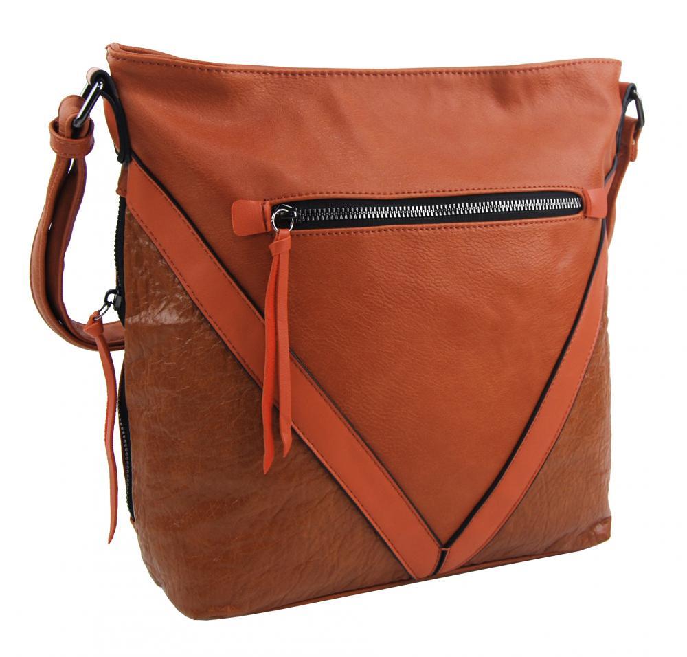 Oranžová stredne veľká crossbody dámska kabelka XH5047