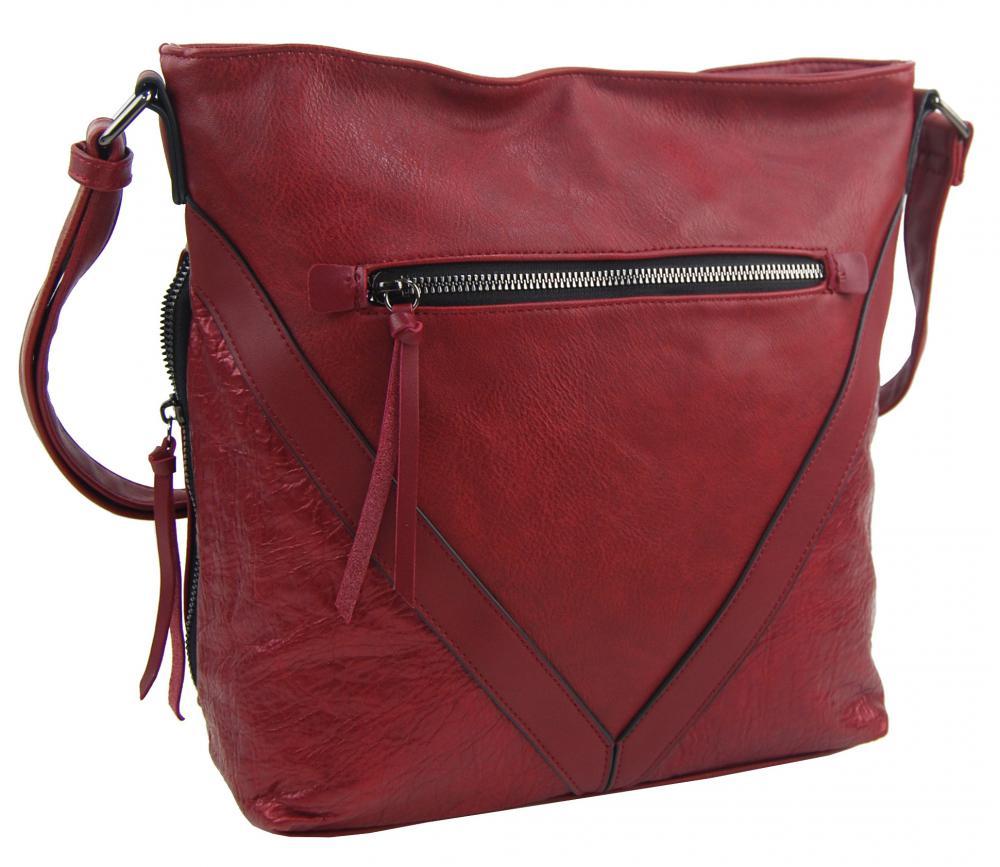 Tmavo červená stredne veľká crossbody dámska kabelka XH5047