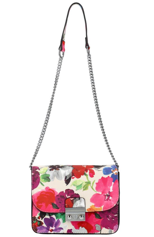 Crossbody dámska kabelka na retiazke v kvetovanom motíve XS7033 béžová