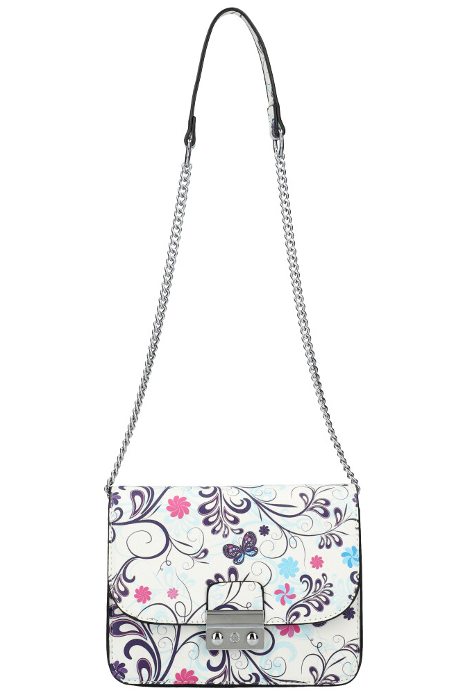 Crossbody dámska kabelka na retiazke v kvetovanom motíve XS7033 biela