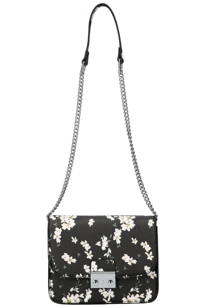 Crossbody dámska kabelka na retiazke v kvetovanom motíve XS7033 čierna