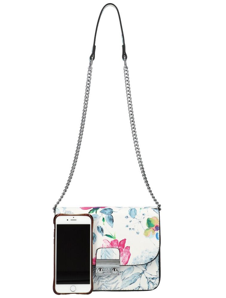 Crossbody dámska kabelka na retiazke v kvetovanom motíve XS7033 svetlo sivá