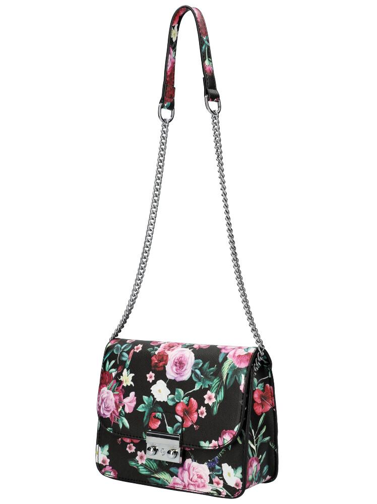 Crossbody dámska kabelka na retiazke v kvetovanom motíve XS7033 čierno-zelená
