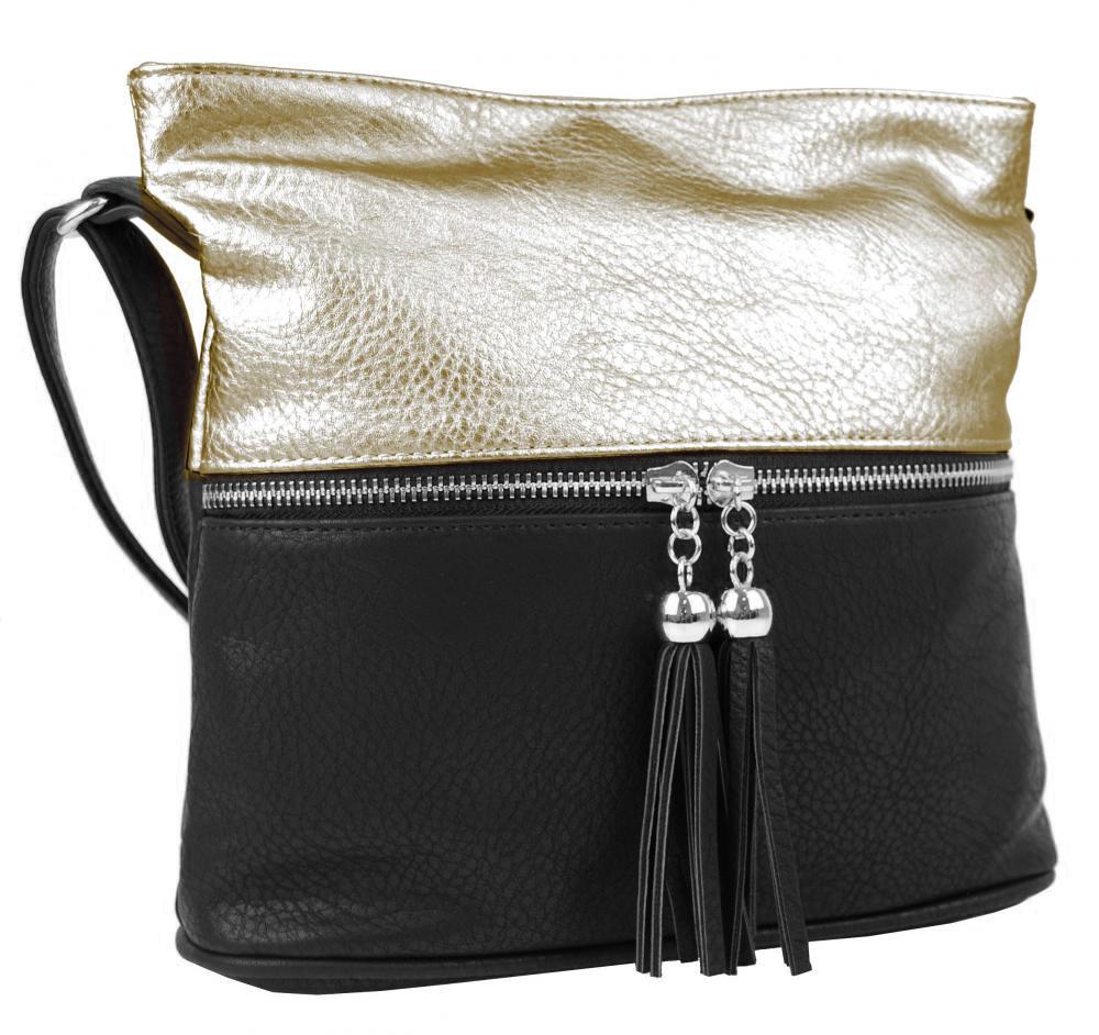 Malá crossbody kabelka so strieborným zipsom NH 6020 čierno-zlatá