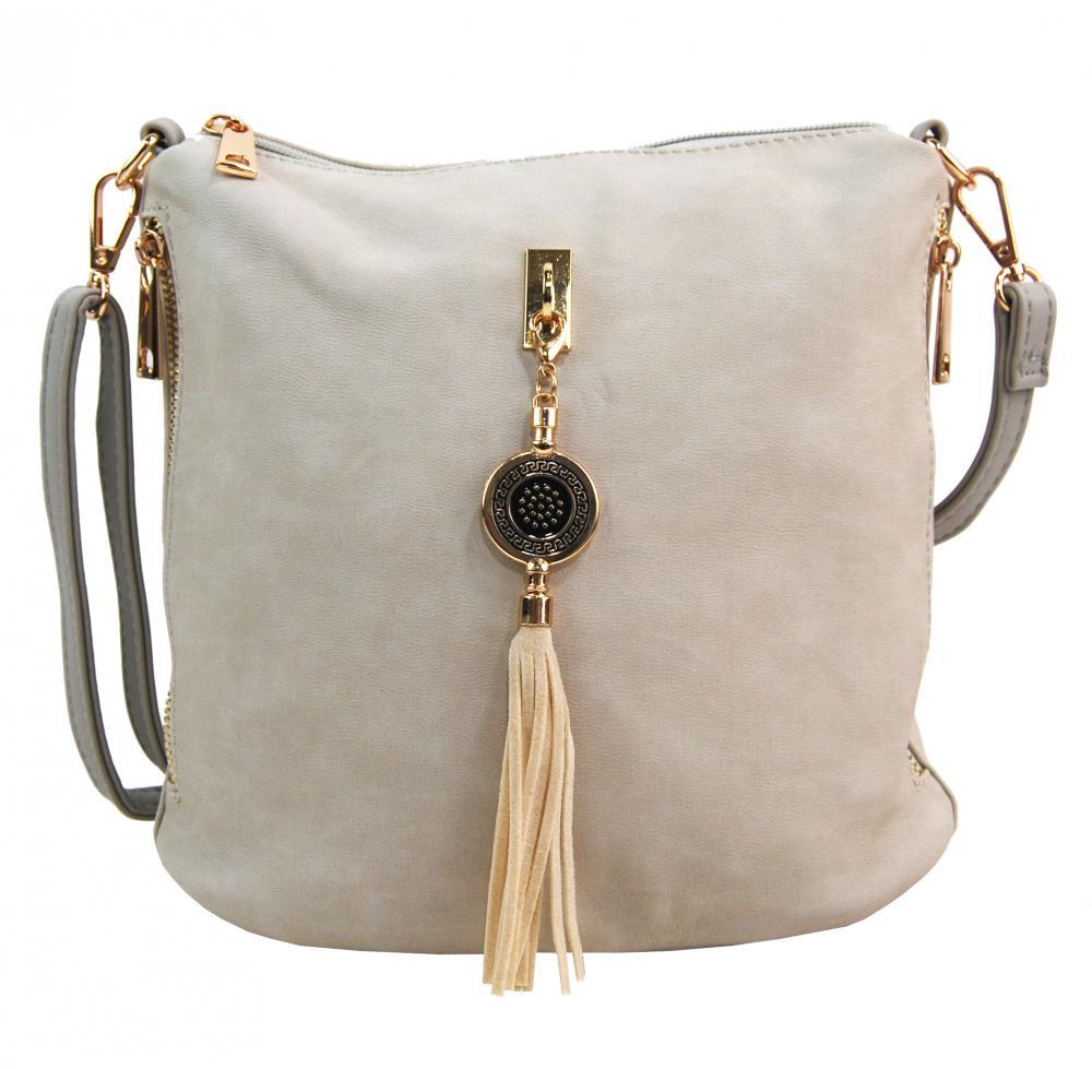 Crossbody dámská kabelka s bočními kapsami 2494-BB béžová