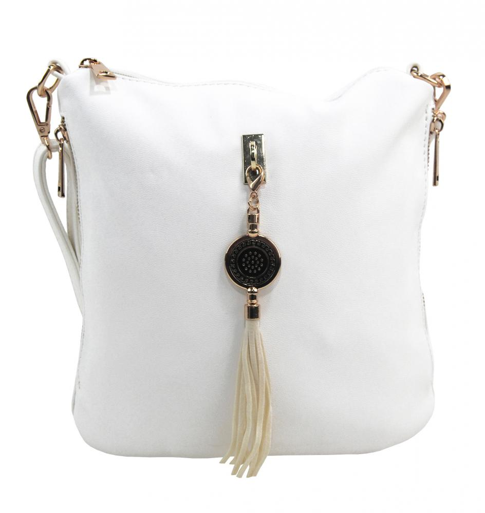 Crossbody dámska kabelka s bočnými vreckami 2494-BB biela