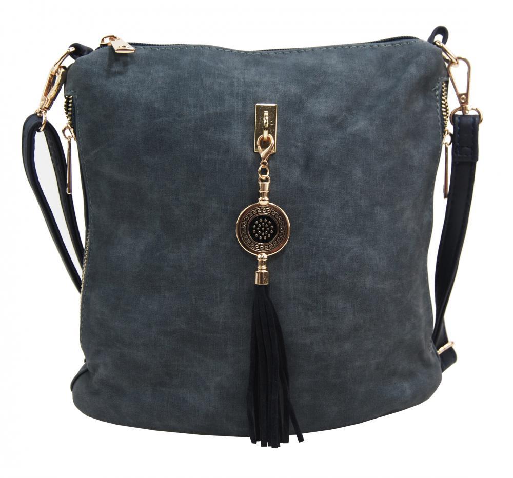 Crossbody dámska kabelka s bočnými vreckami 2494-BB modrá