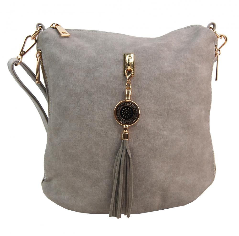 Crossbody dámská kabelka s bočními kapsami 2494-BB šedá