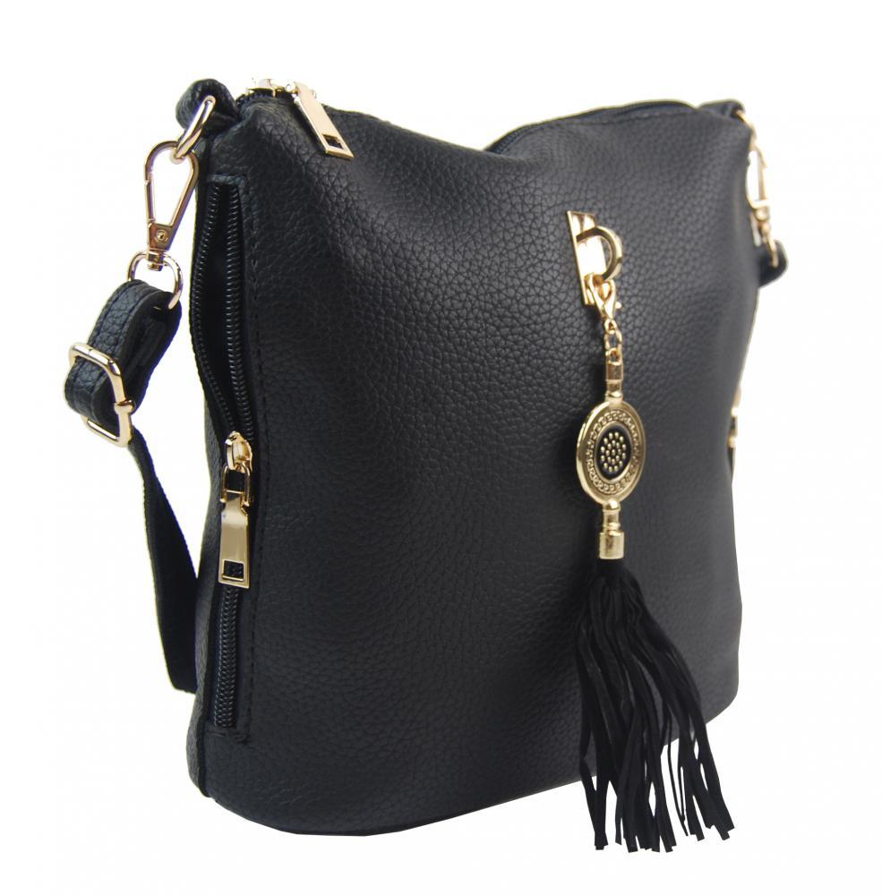 Crossbody dámska kabelka s bočnými vreckami 2494-BB sivá