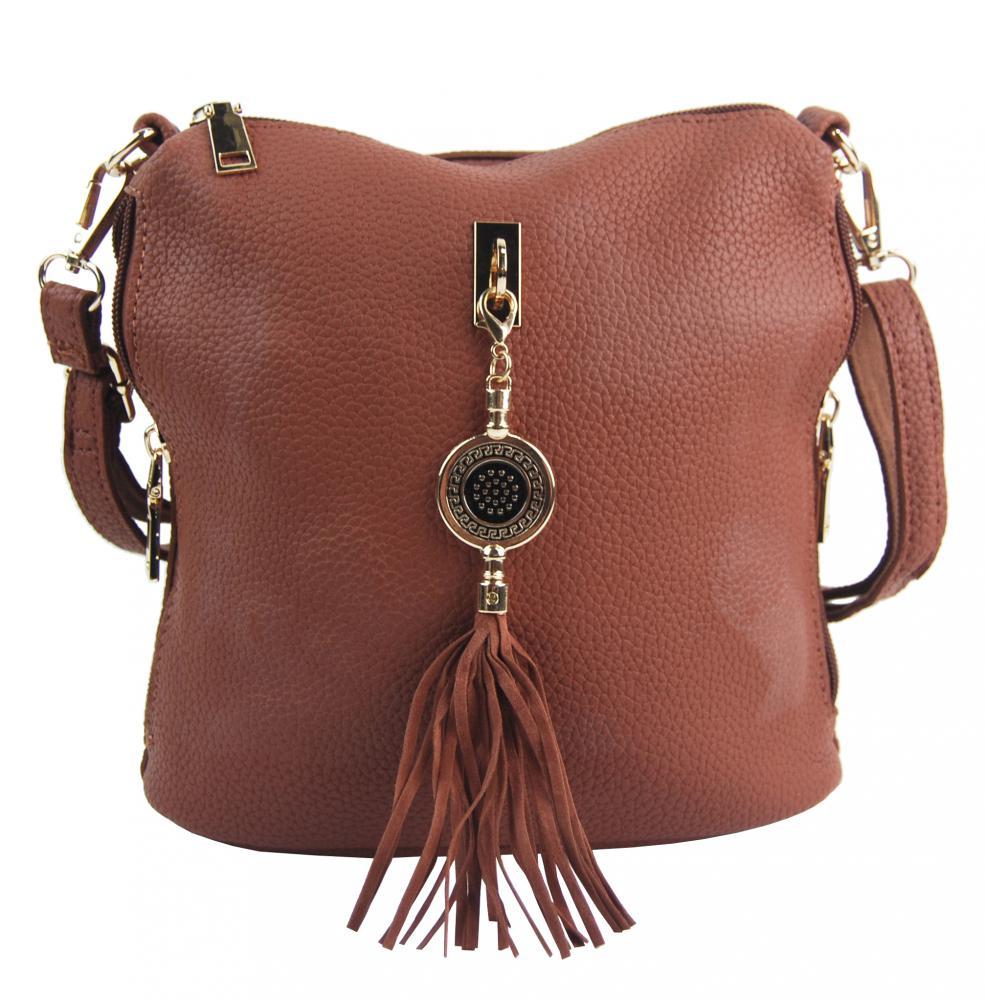 Malá crossbody dámská kabelka s bočními kapsami 4905-BB hnědá