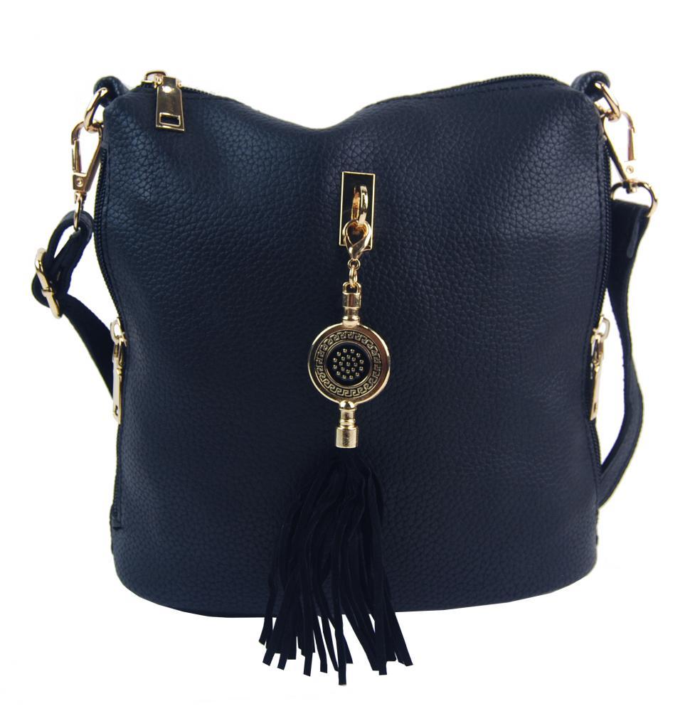Malá crossbody dámská kabelka s bočními kapsami 4905-BB tmavě modrá