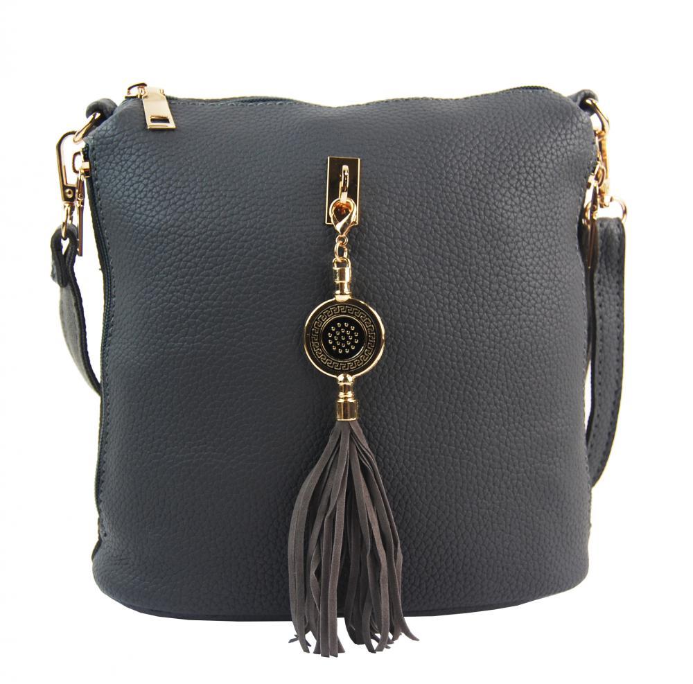 Malá crossbody dámská kabelka s bočními kapsami 4905-BB šedá