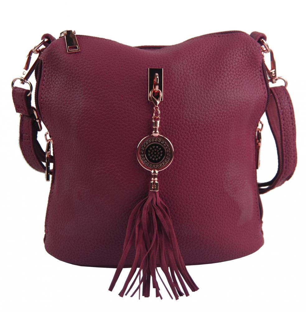 Malá crossbody dámská kabelka s bočními kapsami 4905-BB vínová