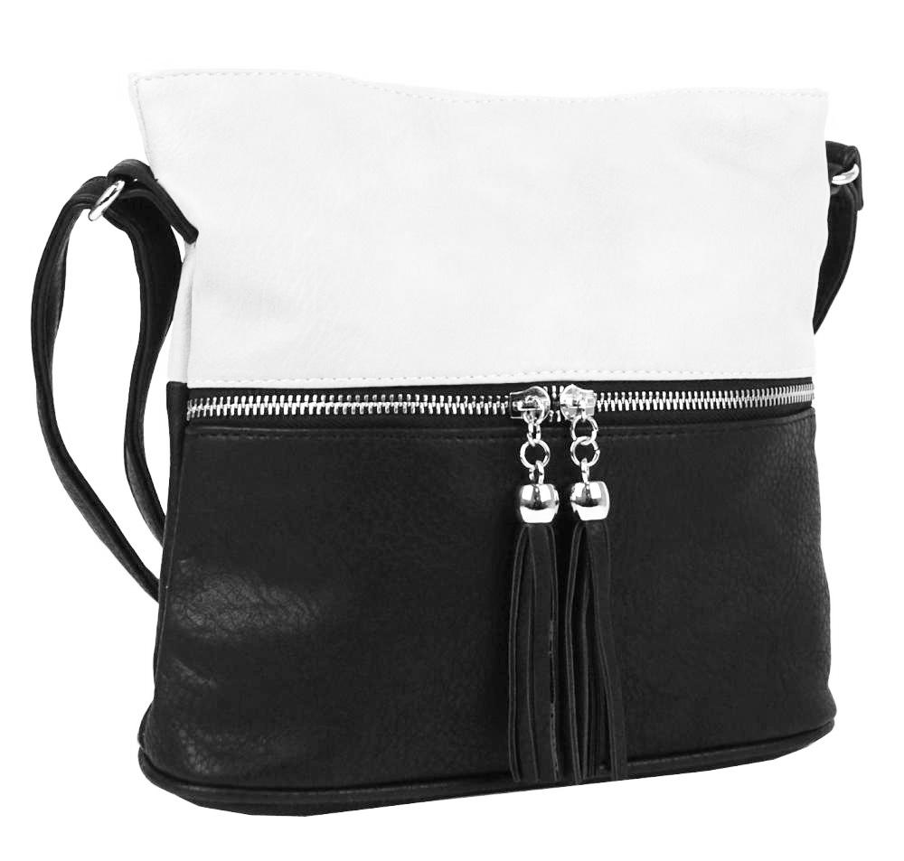 Malá crossbody kabelka so strieborným zipsom NH 6020 čierno-biela