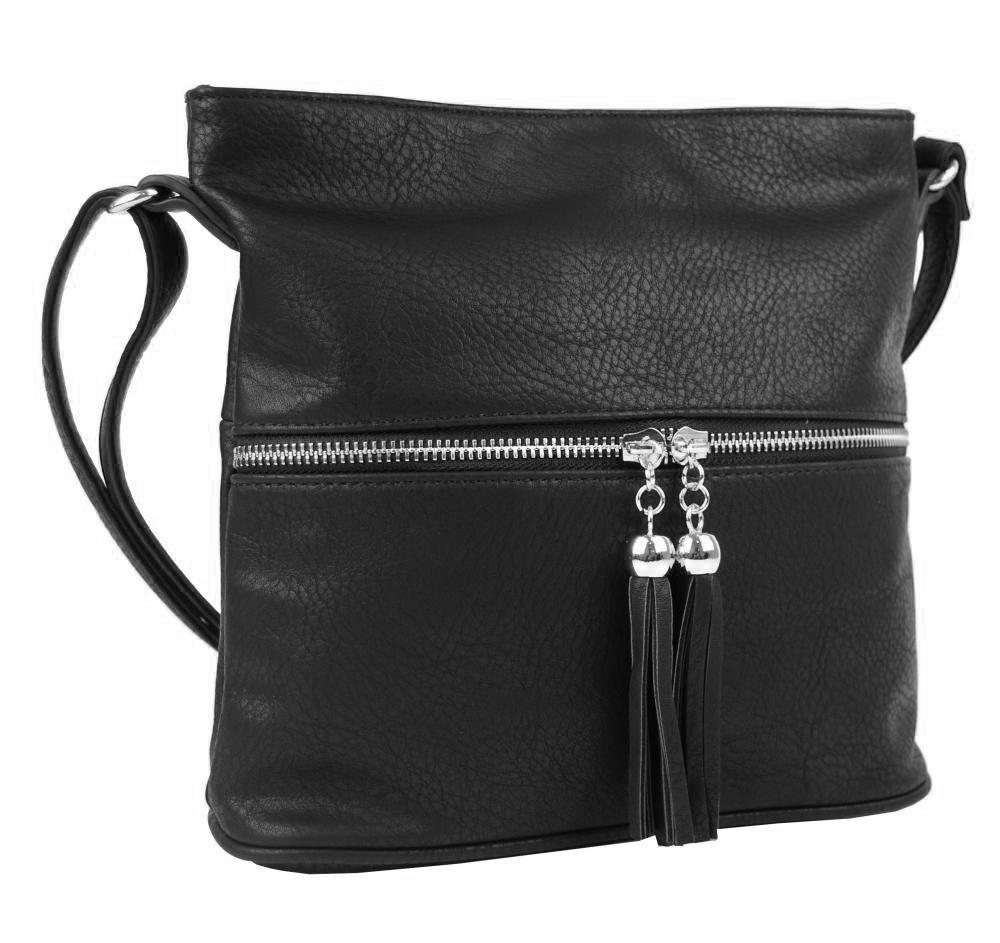 Malá crossbody kabelka se stříbrným zipem NH6020 černá