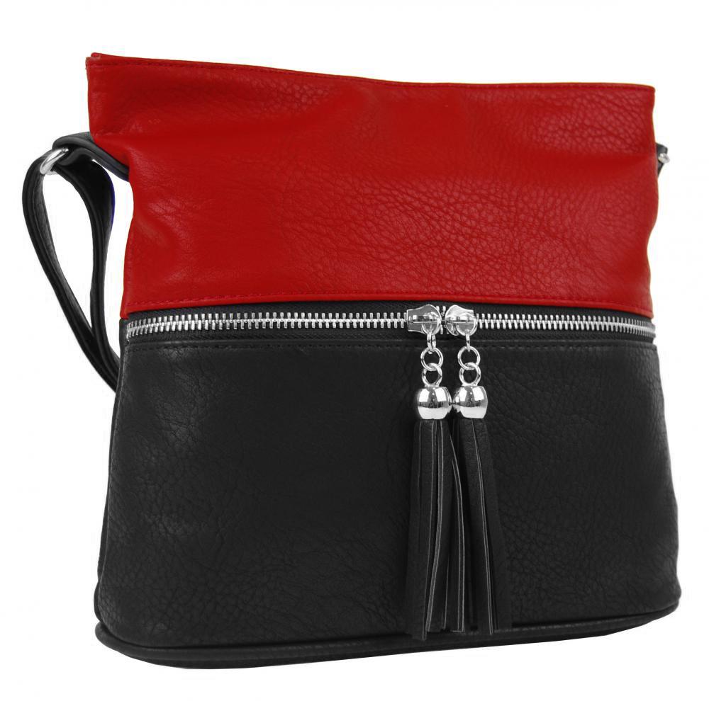 Malá crossbody kabelka so strieborným zipsom NH 6020 čierno-červená