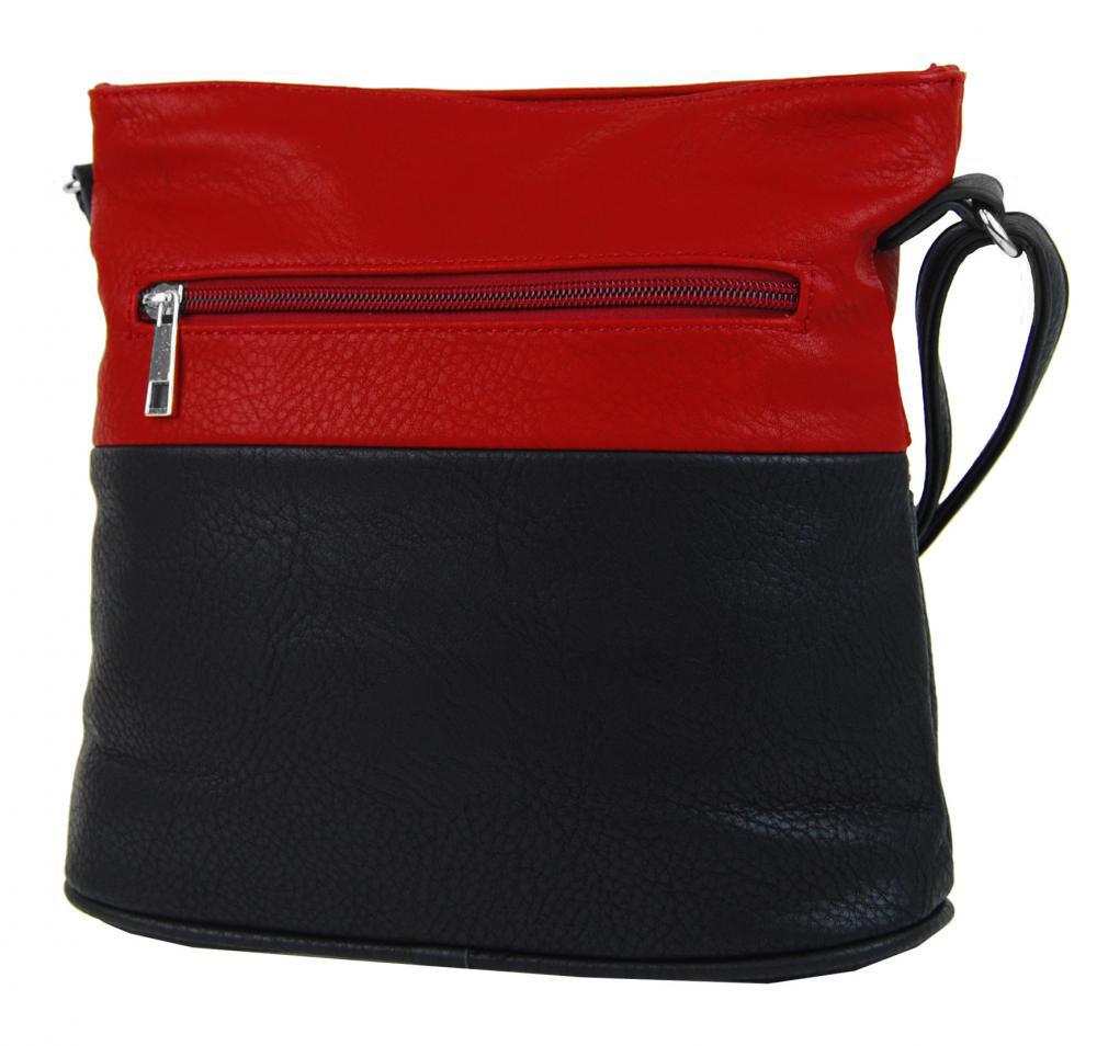 Malá crossbody kabelka se stříbrným zipem NH6020 černo-červená