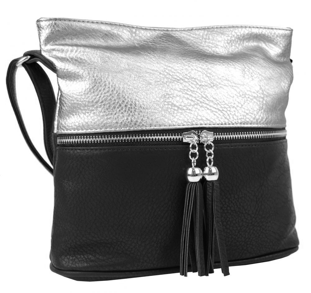 Malá crossbody kabelka se stříbrným zipem NH6020 černo-stříbrná