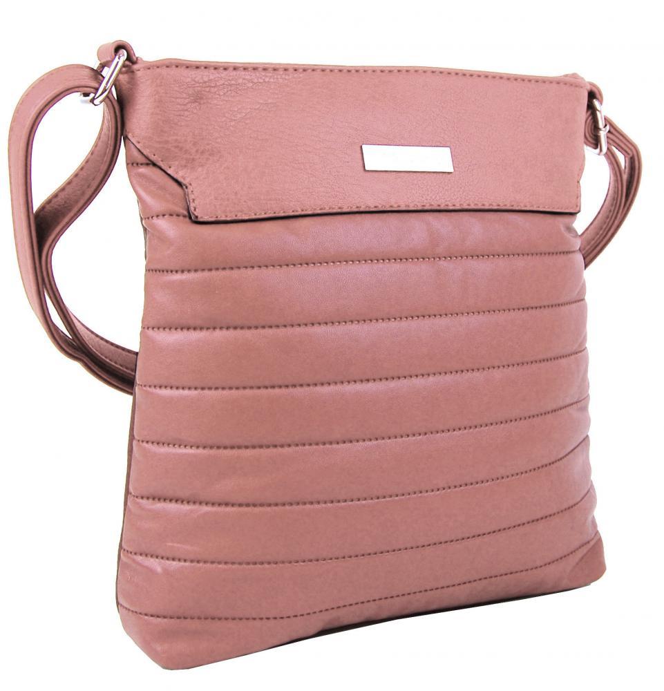 Prošívaná růžová dámská crossbody kabelka