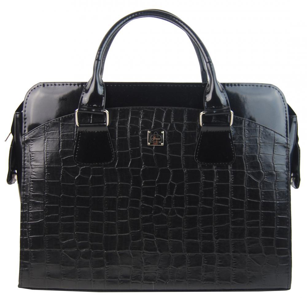 Dámská luxusní taška na notebook černá hrubé kroko ST01 15.6