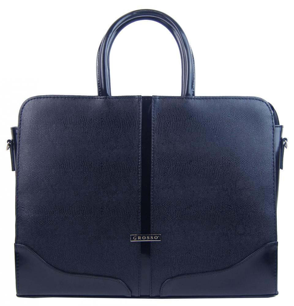 """Elegantní dámská aktovka / taška na notebook 15.6"""" modrá hadí kůže ST03 GROSSO"""