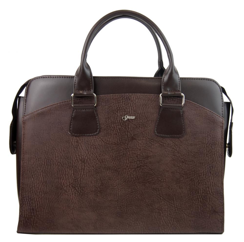 """Dámská taška na notebook hnědá matná melírovaná ST01 15.6"""" GROSSO"""