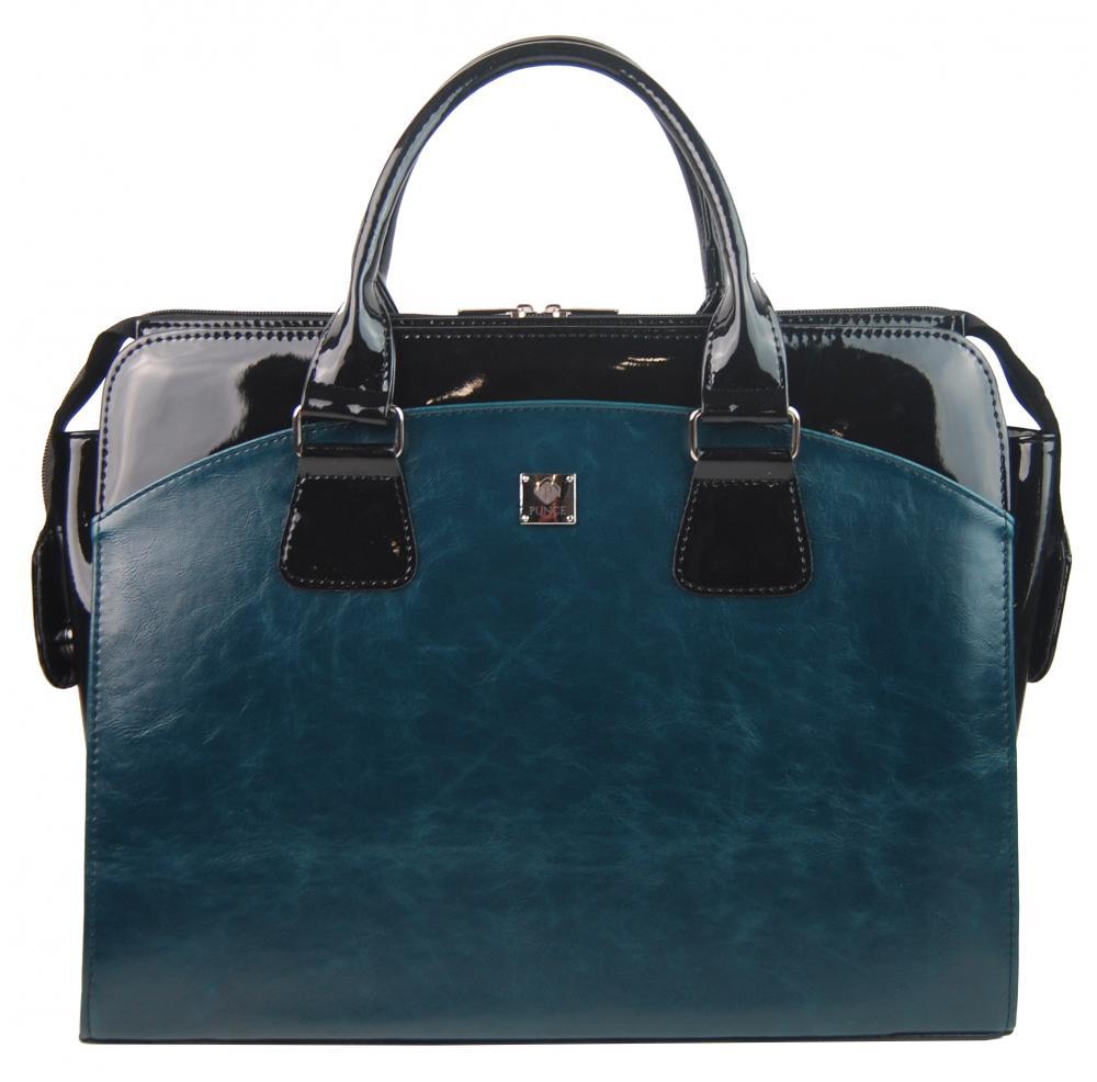 PUNCE Modrá petrolejová dámská taška na notebook do 15.6 palce
