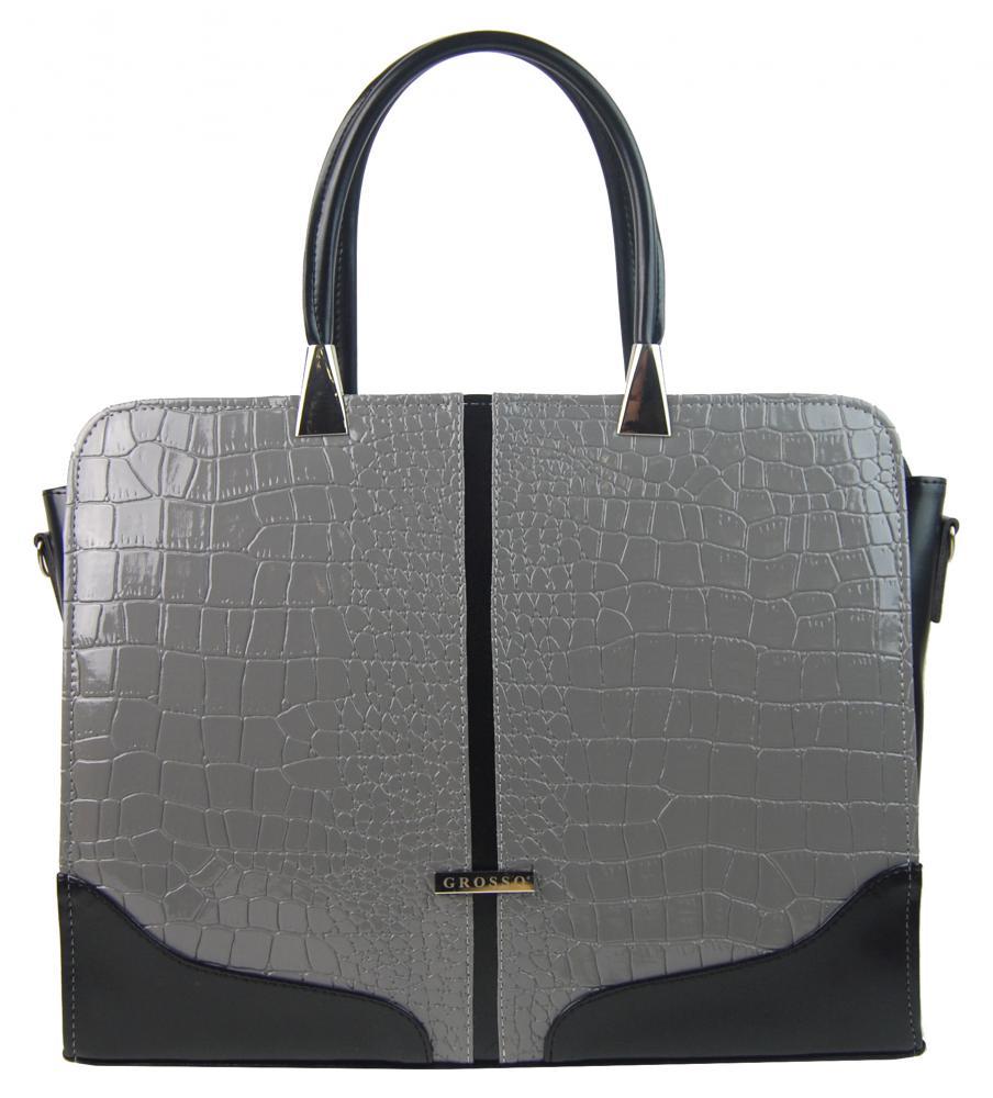 GROSSO Dámská šedá lakovaná taška na notebook do 15.6 palce