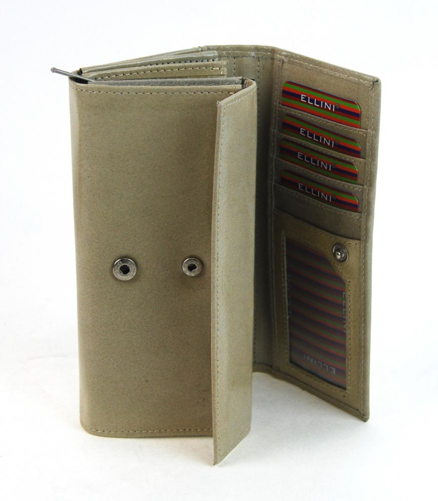 Ellina béžová dámska kožená lakovaná peňaženka v darčekovej krabičke