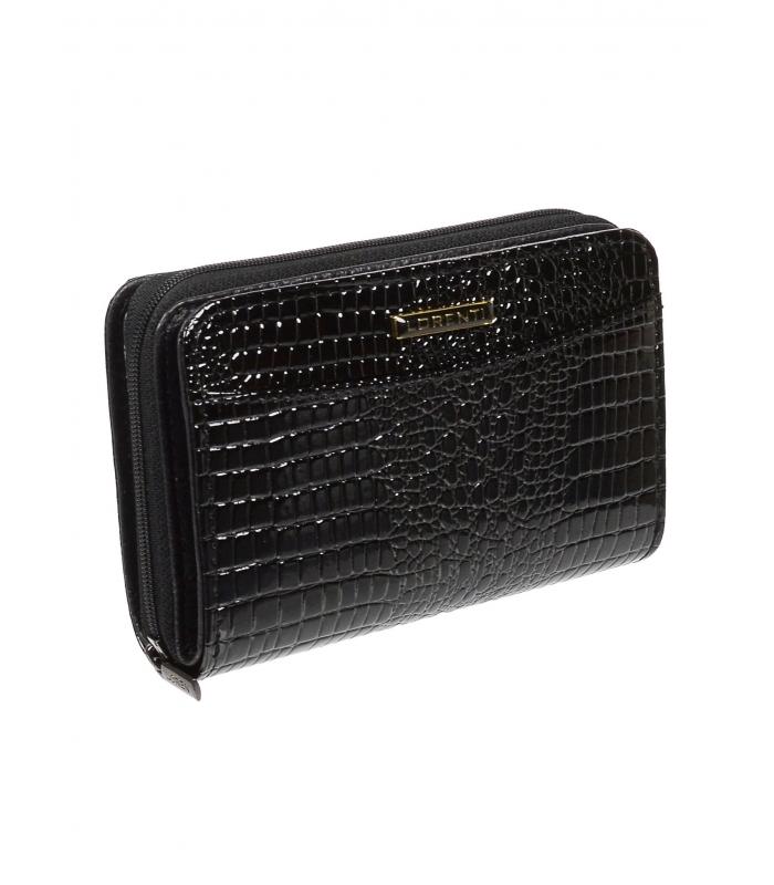 Lorenti čierna dámska kožená lakovaná peňaženka v darčekovej krabičke