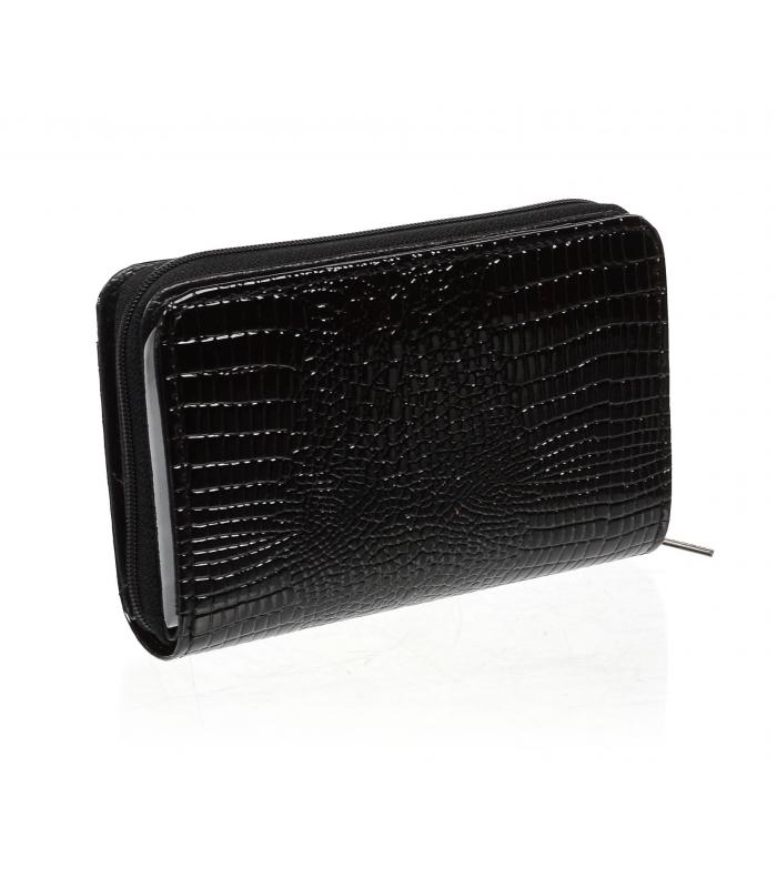 Lorenti černá dámská kožená lakovaná peněženka v dárkové krabičce
