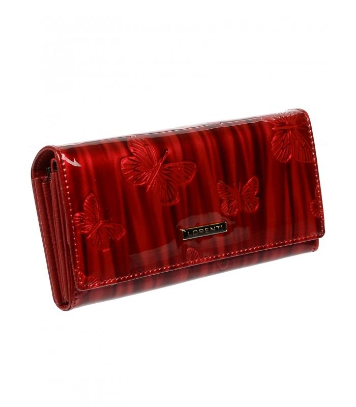 Lorenti červená dámska kožená lakovaná peňaženka v darčekovej krabičke